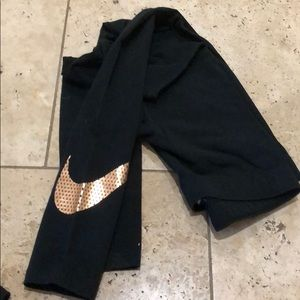NWOT Nike Rose Gold swoosh Leggings
